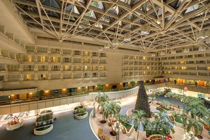 ORLANDO - DECEMBER 30: Interior atrium of Orlando International Airport December 30, 2011 in Orlando, FL. It is the second busiest airport in Florida after Miami International.