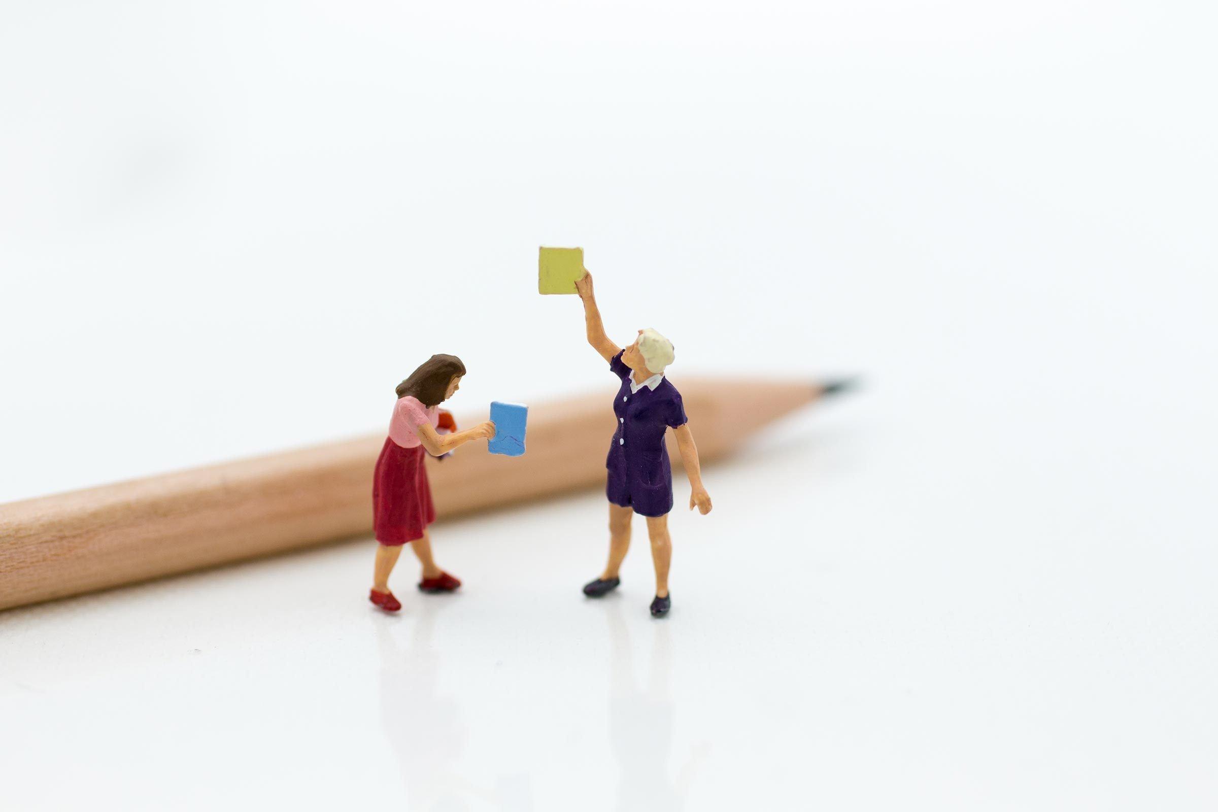mini figures books pencil