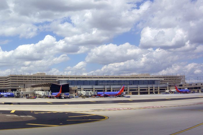 PHOENIX, AZ - MAY 16, 2015: Busy terminals in Phoenix Sky Harbor International airport, Arizona.