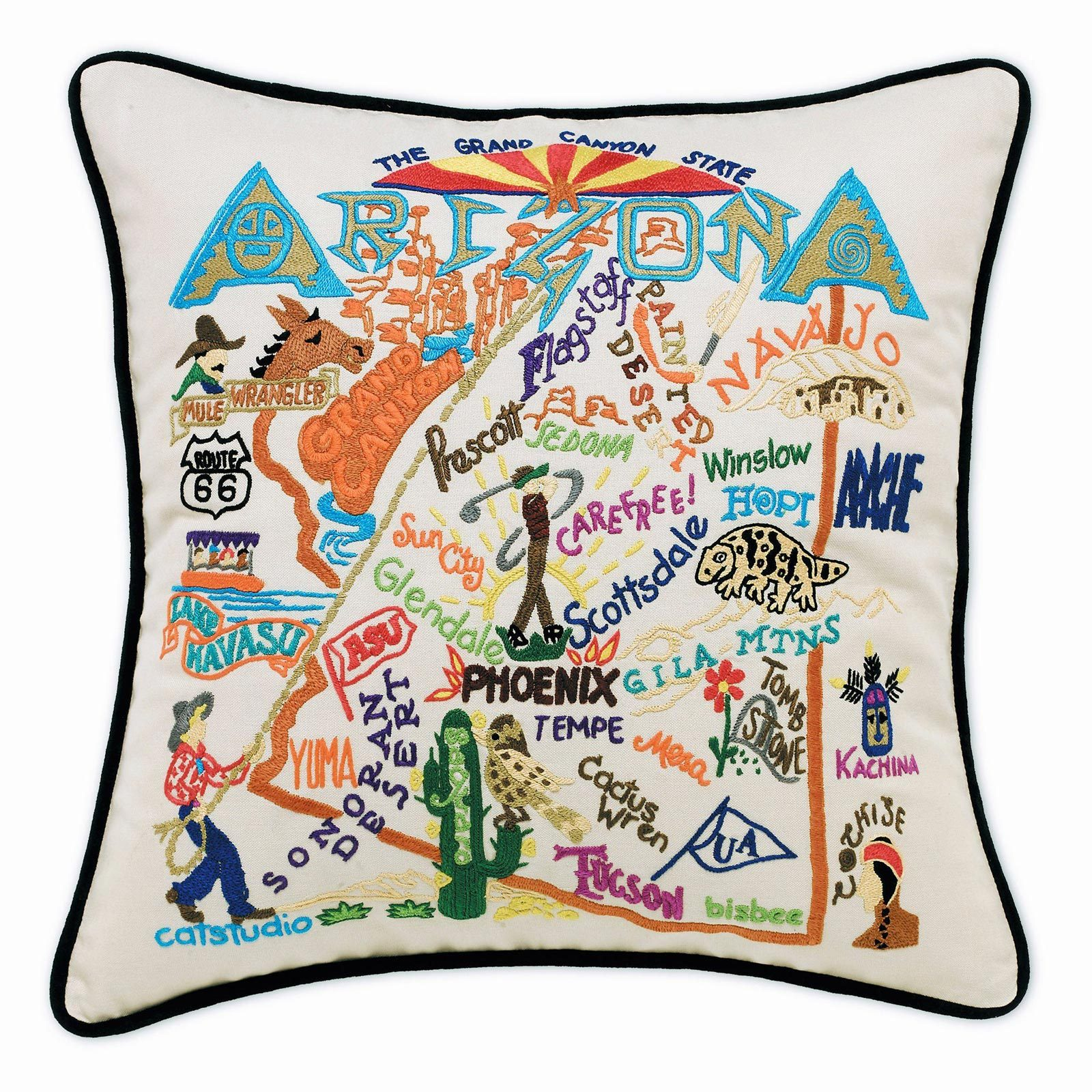 Catstudio Hand-Embroidered Pillow