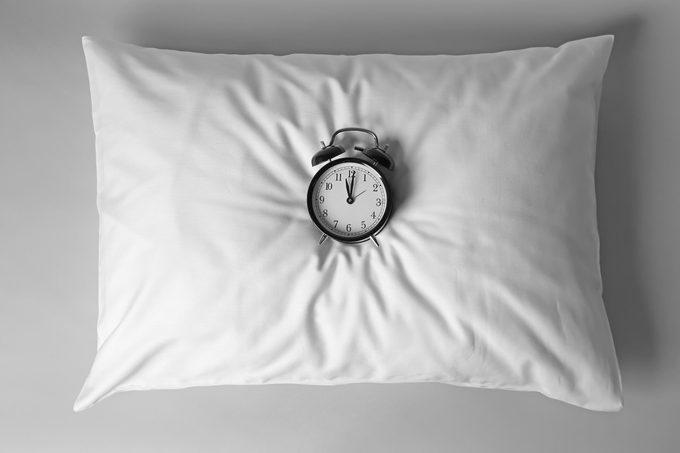 pillow clock gray background