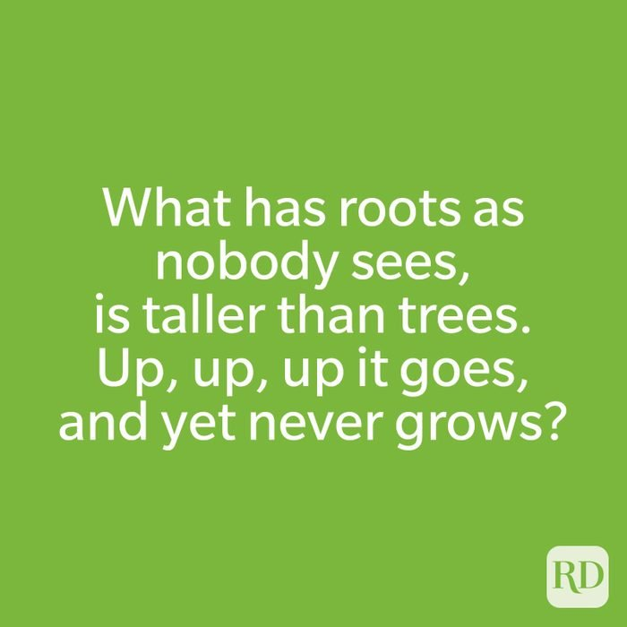 What has roots as nobody sees, is taller than trees. Up, up, up it goes, and yet never grows?