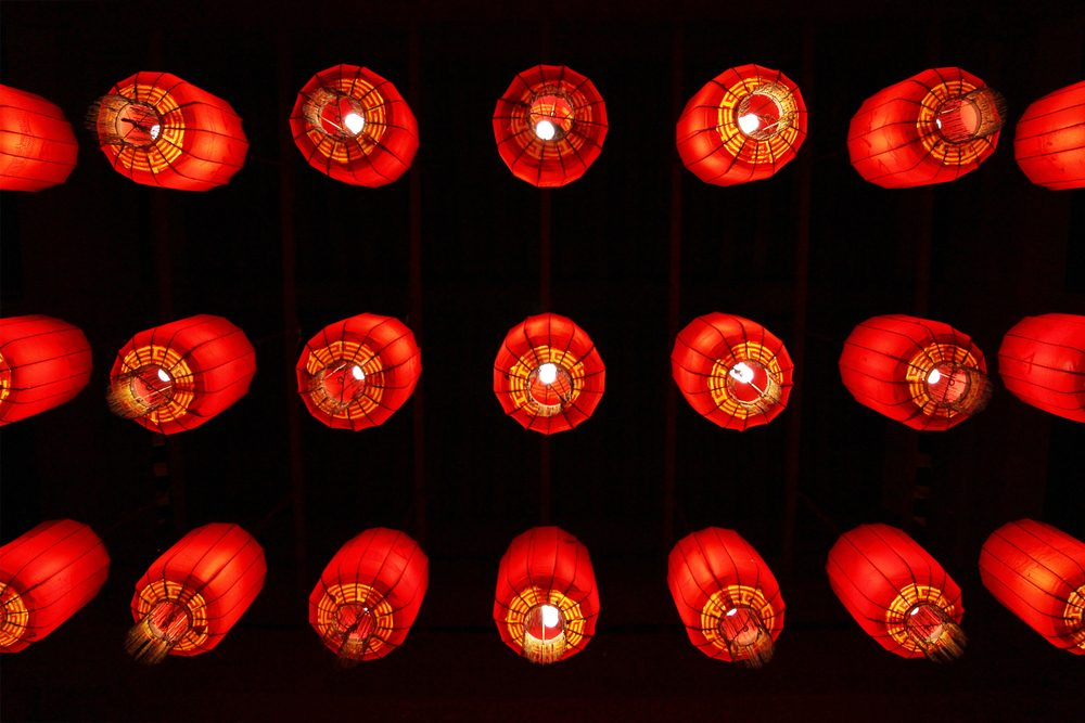 Many red chinese lanterns from below