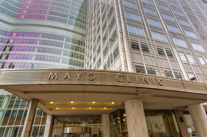 ROCHESTER, MN/USA - JANUARY 19, 2015: Mayo Clinic entrance and sign. The Mayo Clinic is a nonprofit medical practice and medical research group based in Rochester, Minnesota.