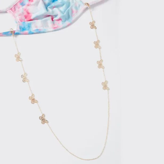 Rue 21 Gold Butterfly Charm Sunglasses & Mask Chain