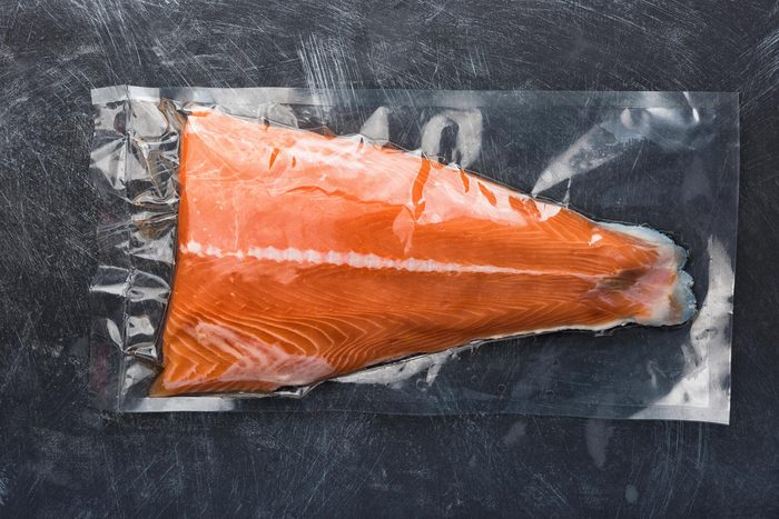 salmon sealed plastic