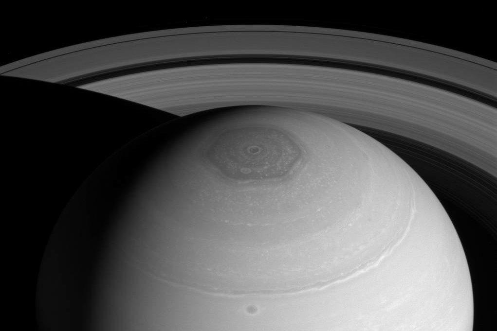 Saturn Hexagon Vortex And Rings