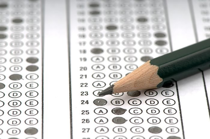 Test score sheet with answers.