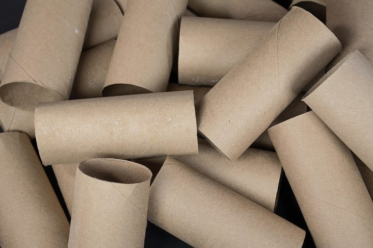 close up of a pile of empty cardboard toilet paper rolls