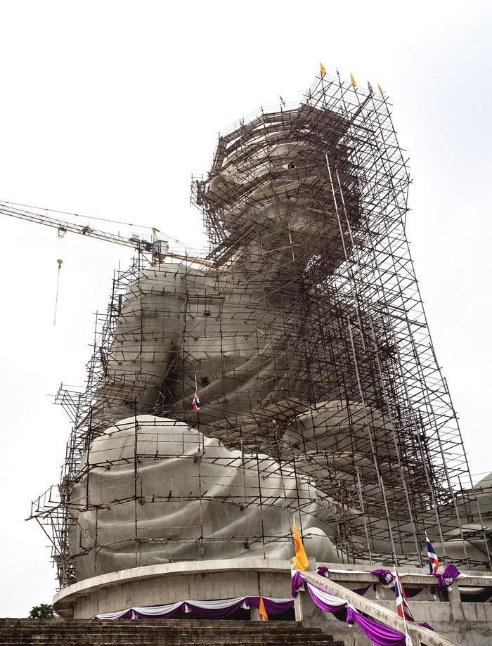 Luang Pu Thuat Statue Under Construction On White Sky Background