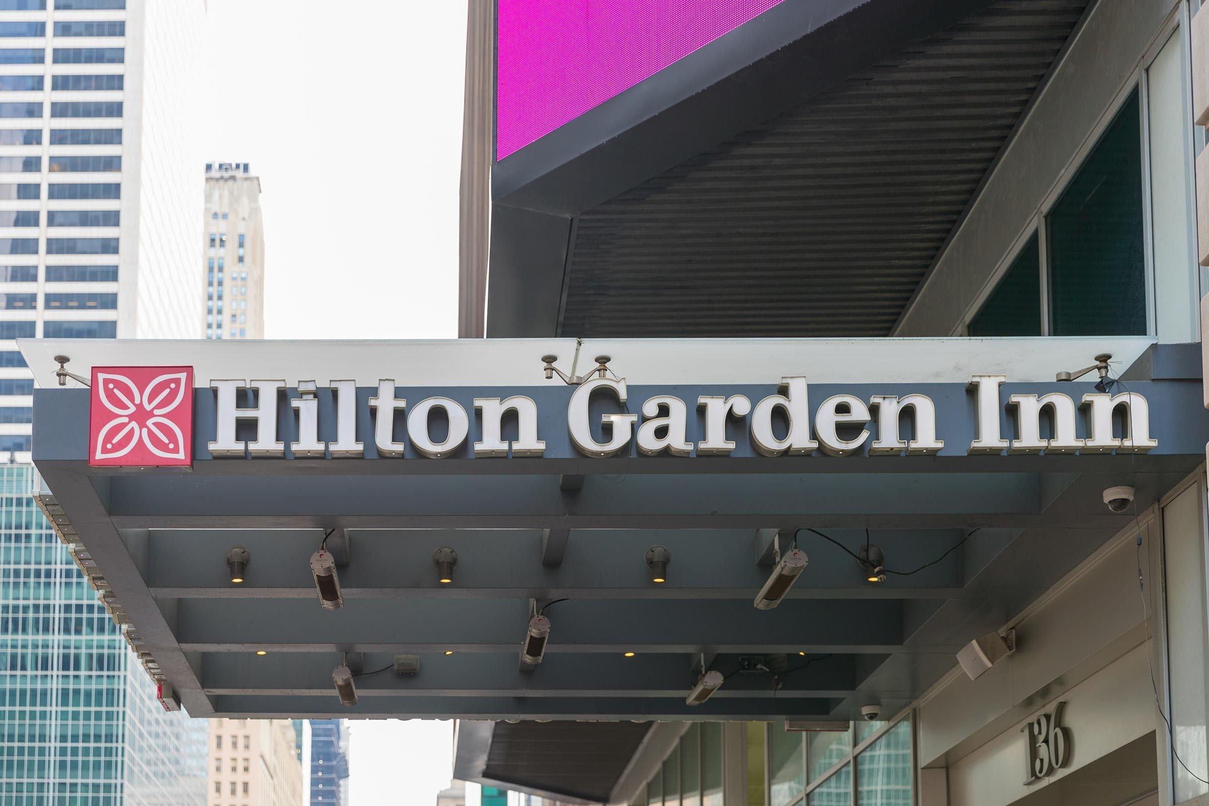New York, United States, August 18, 2018:Hilton Garden Inn in New York city, Times Square.