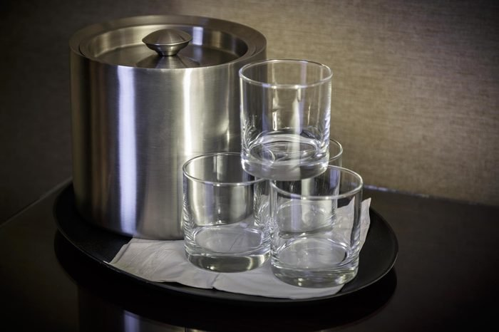 glass of water. Glass in the hotel room