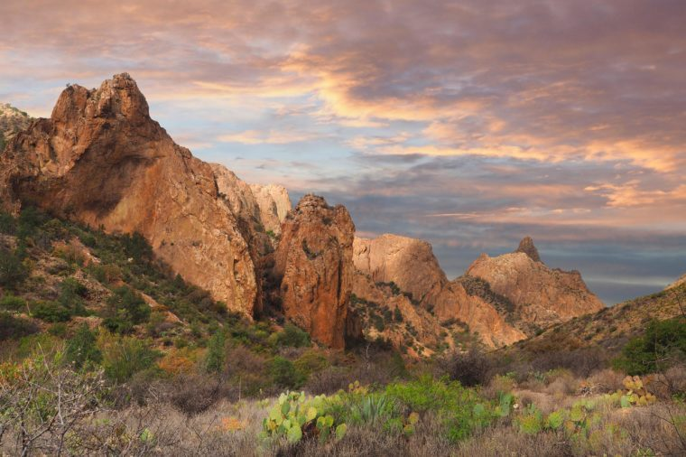 The Chisos Basin in Big Bend National Park, Texas at Sunset