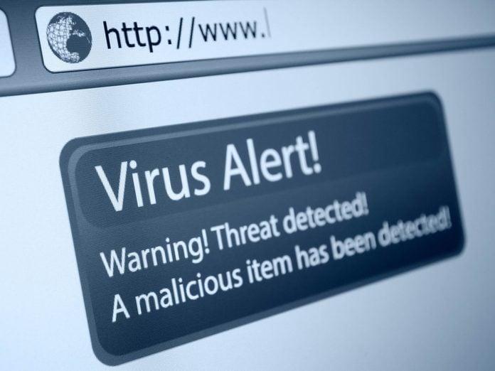 Closeup of Virus Alert Sign