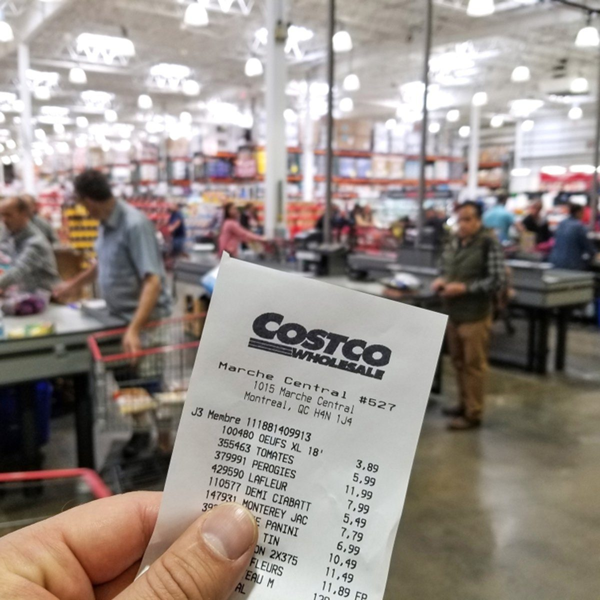 MONTREAL, CANADA - OCTOBER 5, 2018: A hand holding a receipt with the brand name and logo in Costco warehouse. Costco is an American corporation which operates a chain of membership only warehouses.; Shutterstock ID 1280270092; Job (TFH, TOH, RD, BNB, CWM, CM): TOH