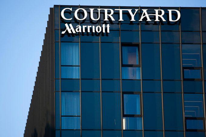 Vilnius/Lithuania February 22, 2019 Courtyard Marriott logo on their main hotel in Vilnius