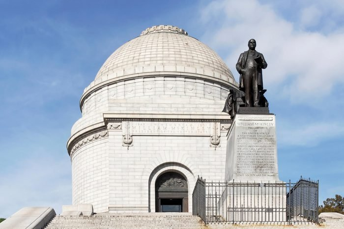 Front view of the Mckinley Monument in Canton, Ohio.