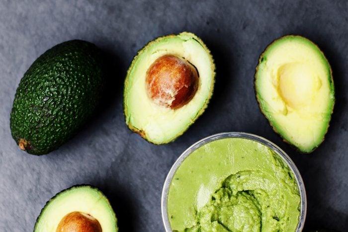 Avocado. Avocado spread. Avocado pasta. Guacamole with copy space