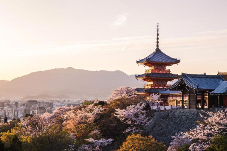 Sunset at Kiyomizu-dera Temple and cherry blossom season (Sakura) on spring time in Kyoto, Japan