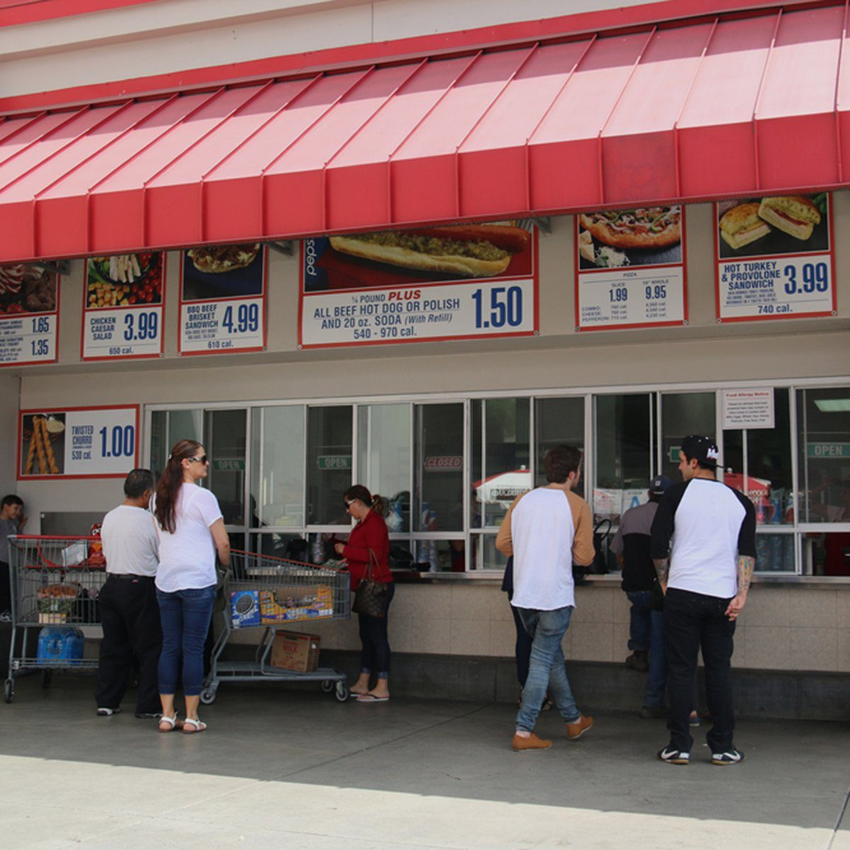 Norwalk, California, USA - April 27, 2016: Customers are purchasing food with low price at the food court of Costco, the largest membership-only warehouse in the United States.; Shutterstock ID 413085085; Job (TFH, TOH, RD, BNB, CWM, CM): TOH