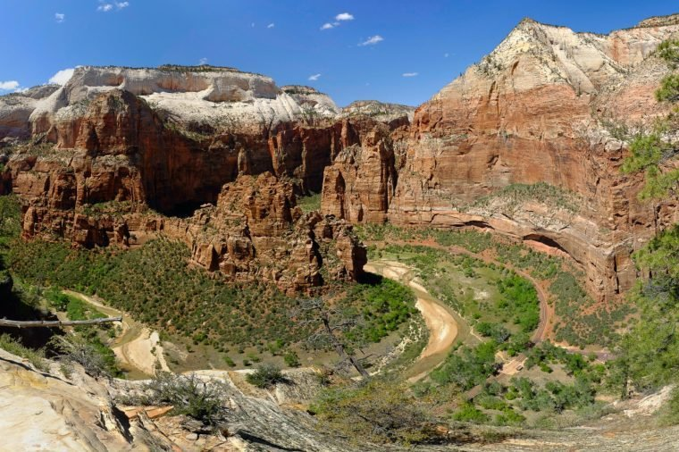 Panoramic Photo of Angels Rest, Big Bend and Observation Point. Zion National Park, Utah