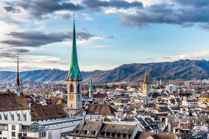 Scenery of old town of Zurich, Switzerland from University hill.