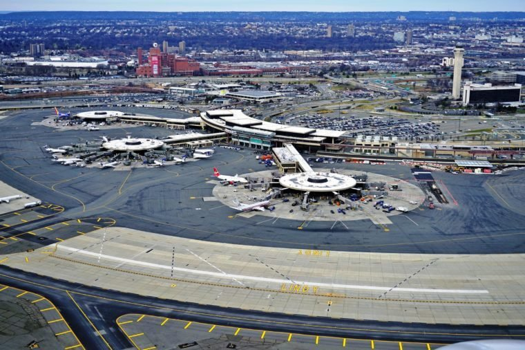 NEWARK, NJ -5 JAN 2017- Aerial view of Newark Liberty International Airport (EWR) in New Jersey. Newark is a major hub for United Airlines and the second busiest airport for the New York area.