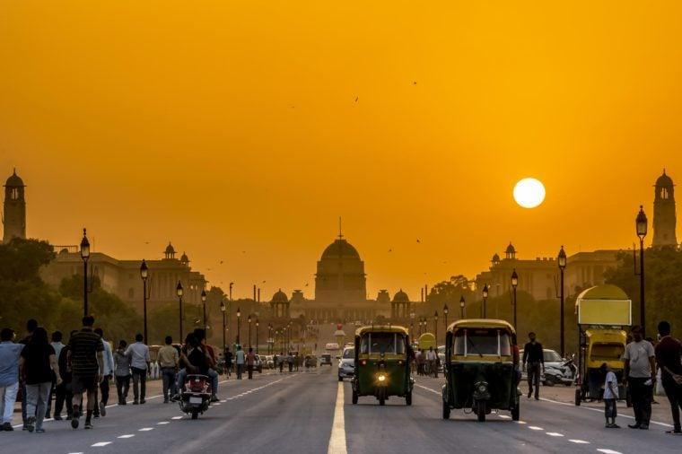 Sunset behind the President Residence, Rashtrapati Bhavan, New Delhi, India.