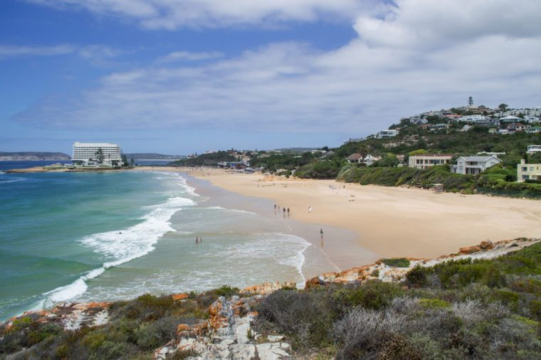 Beach and Coastline with Houses at Plettenberg Bay in South Africa