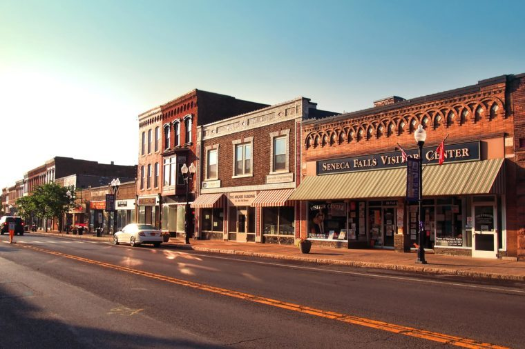 village of Seneca Falls before sundown
