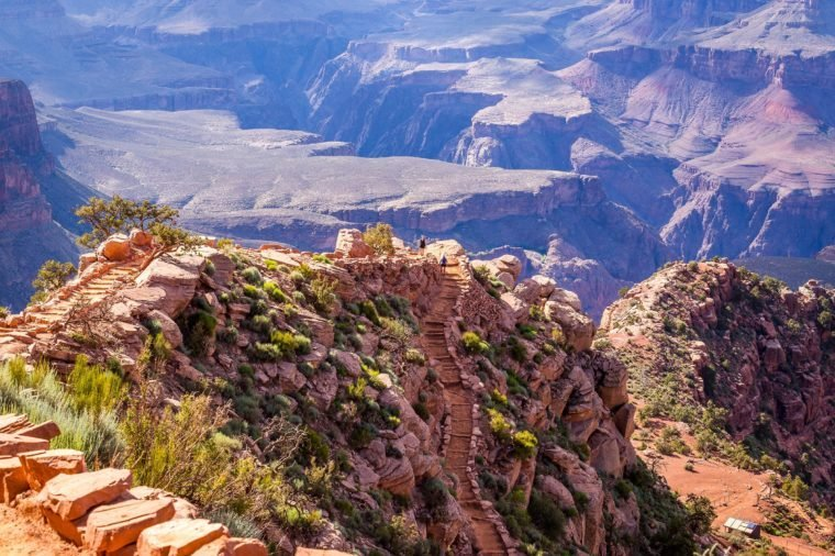 Footpath at the top of the canyon. Bright Angel Trail, Grand Canyon, South Rim