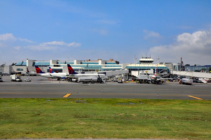 NEW YORK CITY, NY/USA-JUNE 18, 2017: The LaGuardia airport in New York City is being rebuilt, while still in constant operation. A major construction project of new terminals is underway.