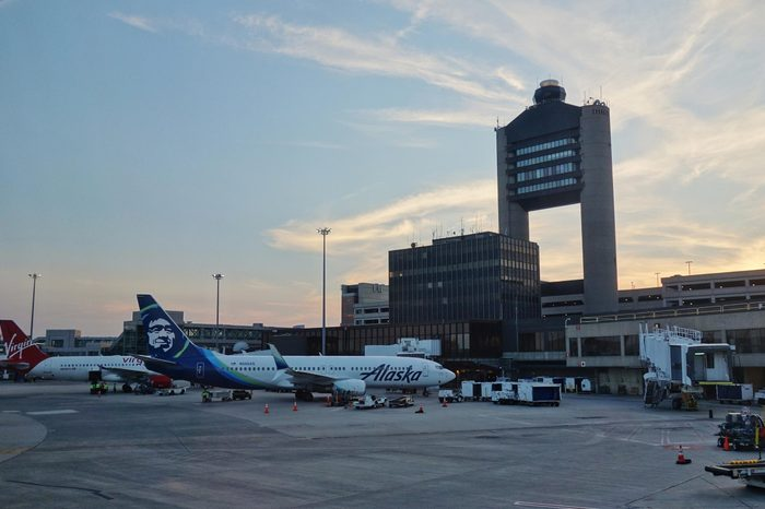 BOSTON, MA -4 AUG 2017- View of the Boston Logan International Airport (BOS) in Boston, Massachusetts.