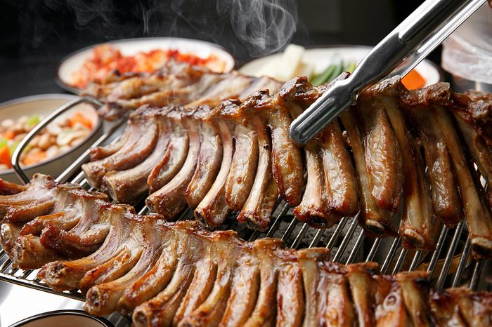 Delicious Spare ribs plate or grill
