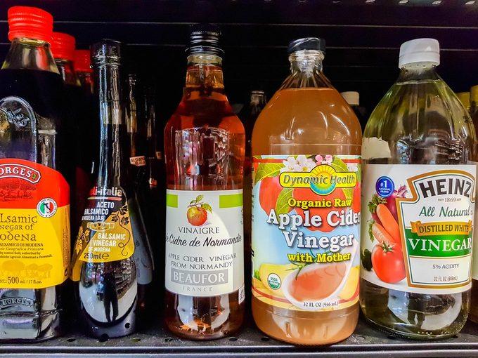 KUALA LUMPUR, MALAYSIA - NOVEMBER 4, 2017: Variety of Apple Cider Vinegar at Cold Storage Bangsar Shopping Centre, Kuala Lumpur