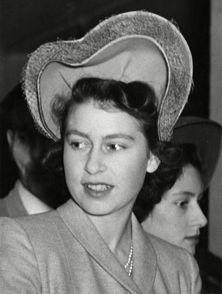 Historical Collection 170 Princess Elizabeth Pictured in November 1946 Wearing A Hat Worn On the Back of the Head Forming A Heart Shaped Double Halo and Trimmed with Veiling 1946