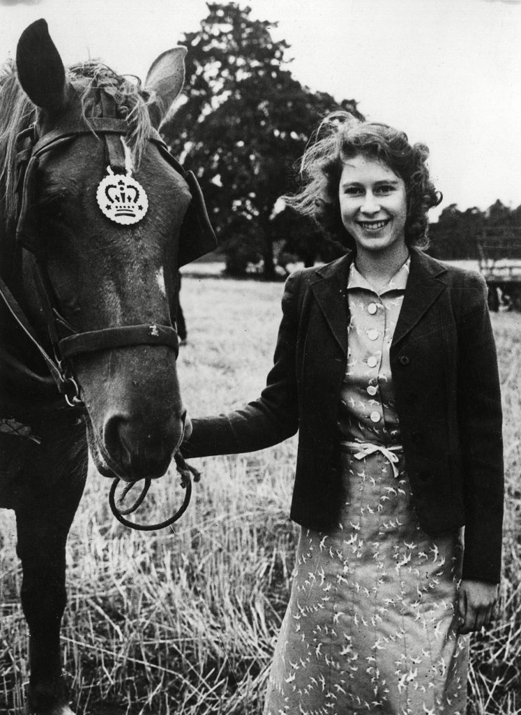 Historical Collection 173 Queen Elizabeth Ii When Princess Elizabeth Pictured with One of the Horses During Harvest Time at Sandringham Norfolk in 1943 1943
