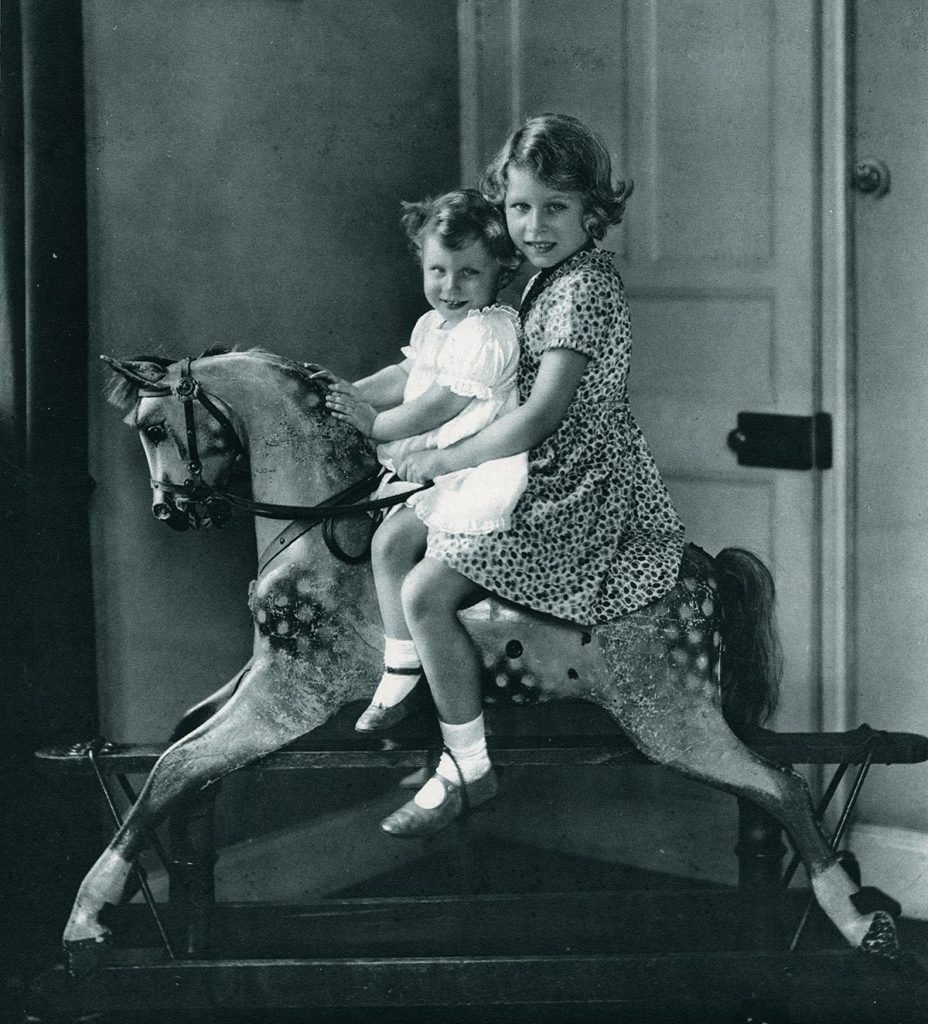 Historical Collection 84 Princess Elizabeth and Princess Margaret Photographed On A Rocking Horse 1937