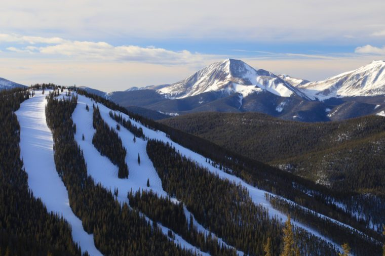 Keystone Ski resort and the Colorado Rocky Mountains during winter
