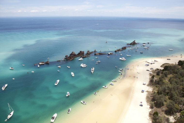 moreton island tangalooma aerial view of shipwreck reefs from helicopter