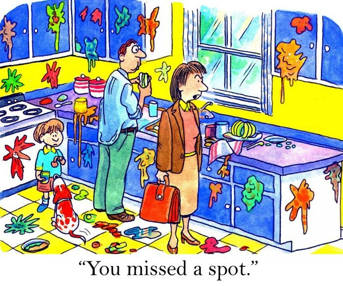 working woman comes homes to messy kitchen cartoon
