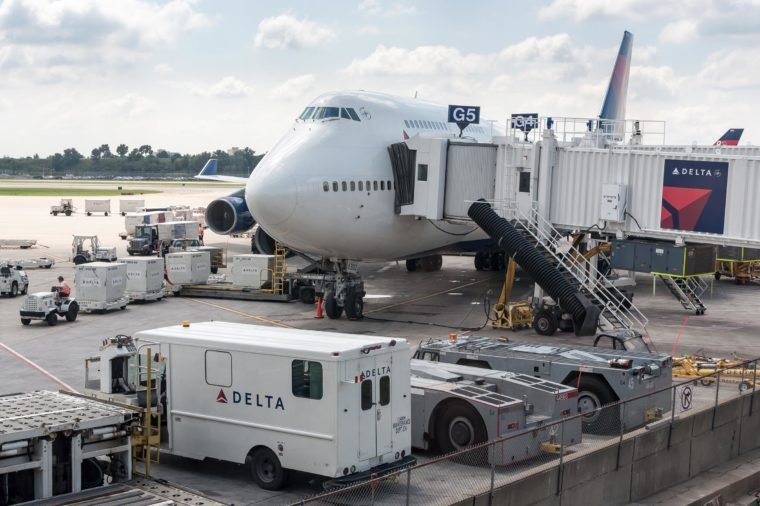 ST. PAUL, MINNESOTA, USA - August 14, 2011, An aircraft at Minneapolis–Saint Paul International Airport(MSP). The airport is surrounded by Menneapolis, St. Paul and many suburban cities