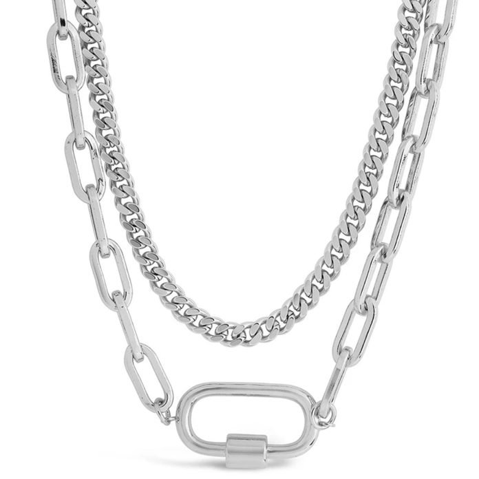 Sterling Forever Polished Carabiner Layered Chain Necklace