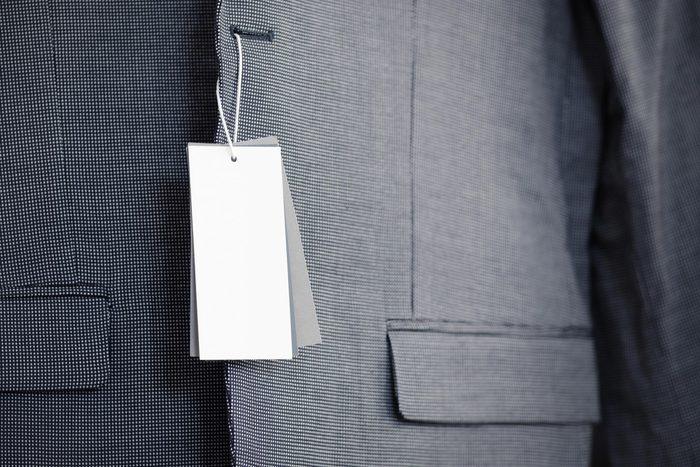 price tag blazer jacket shopping