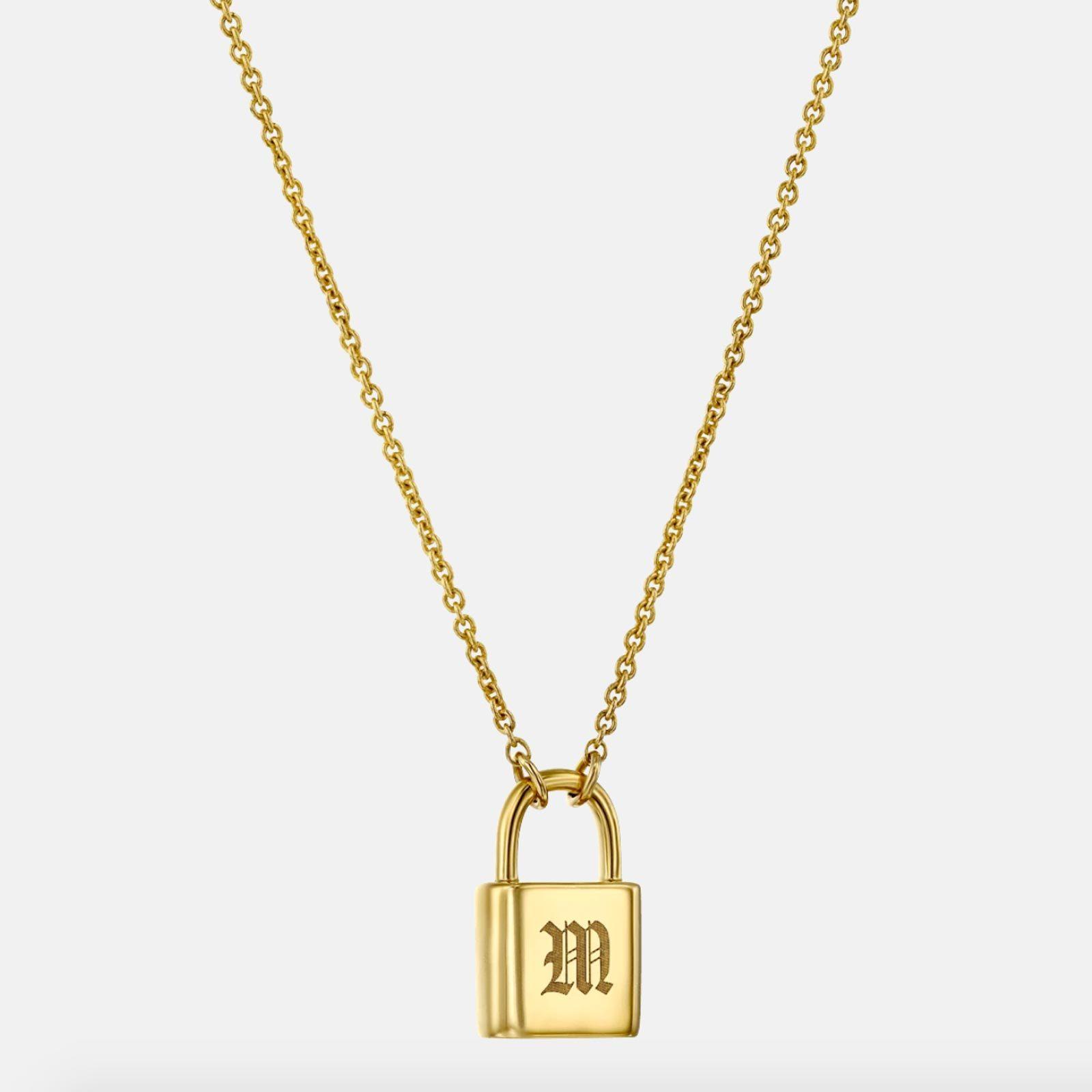 Adorned Lock Letter Necklace