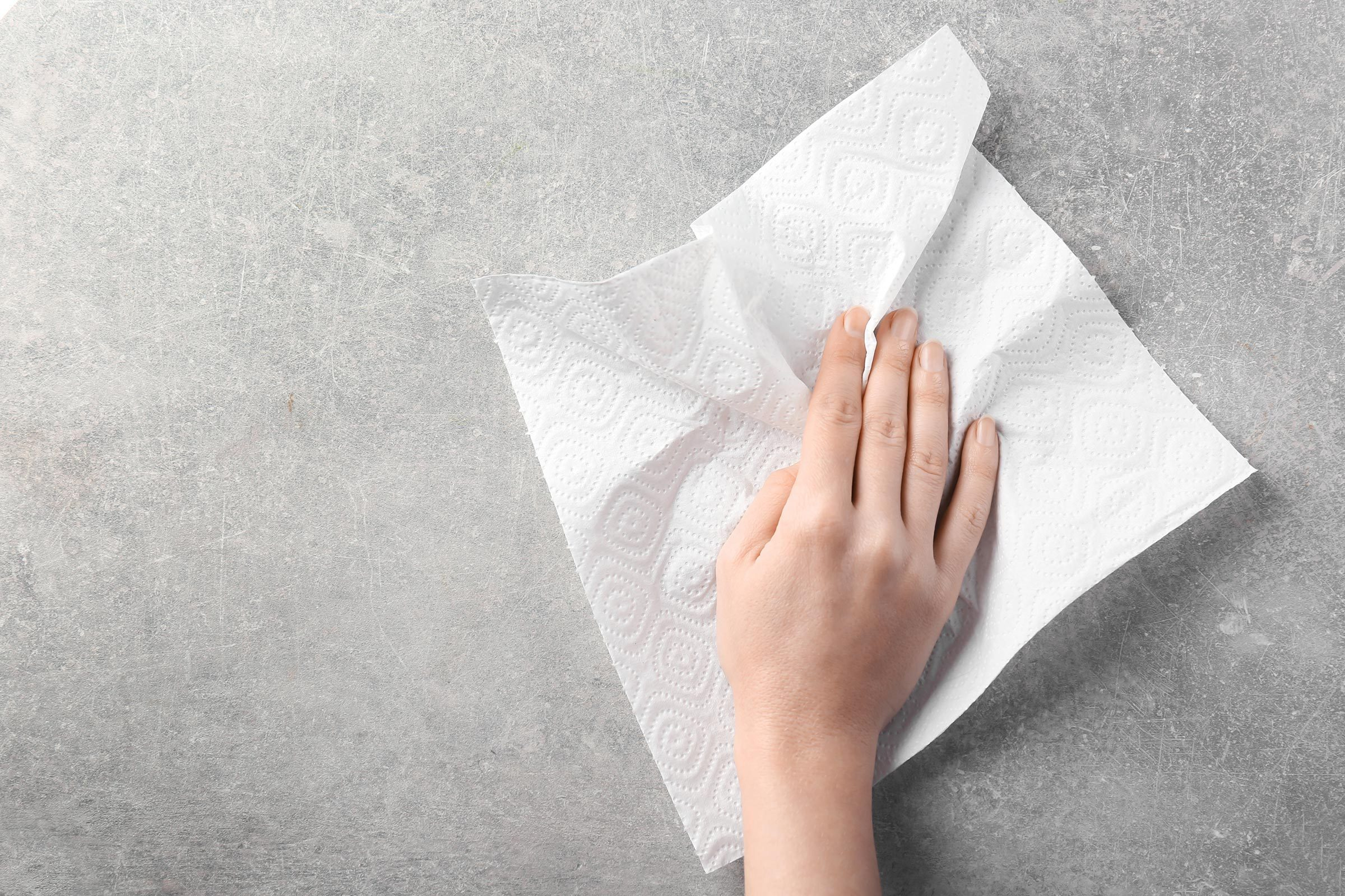 wipe counter hand paper towel