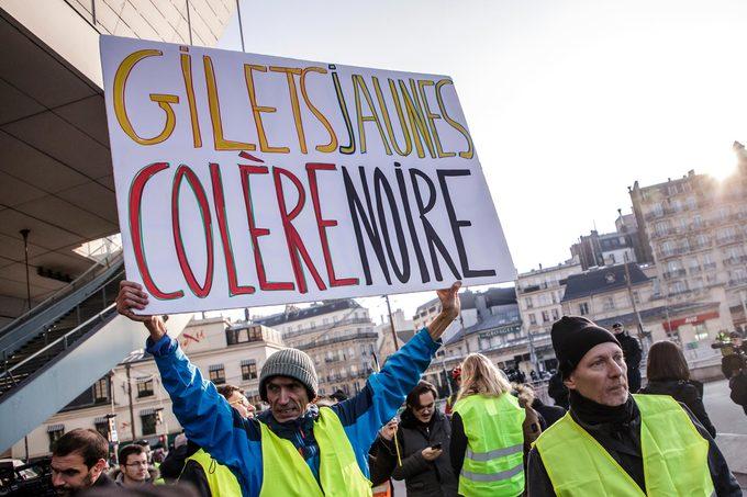 Yellow vests protest against fuel prices in Paris, France - 17 Nov 2018