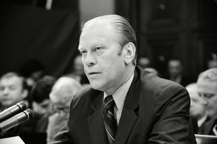 President Gerald Ford appearing at the House Judiciary Subcommittee hearing on his pardon of former President Richard Nixon.