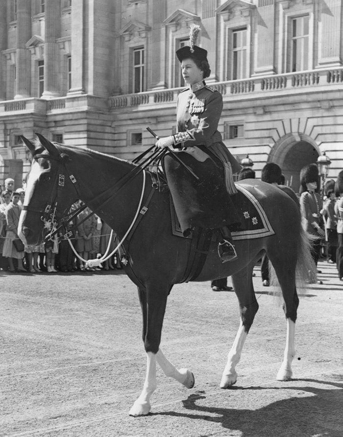 Trooping The Colour 1957. Queen Elizabeth II On Horseback.