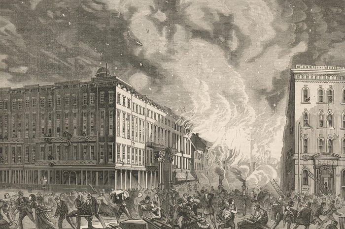 Historical Collection 92 The Great Fire of Chicago - the Scene in Dearborn Street Near the Fremont House Hotel 1871